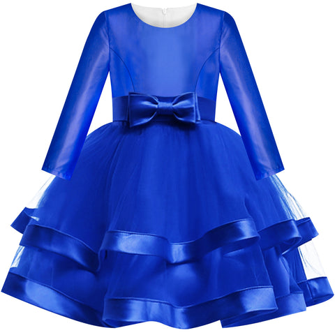 Girls Dress Long Sleeve Royal Blue Wedding Party Pageant Size 6-12 Years
