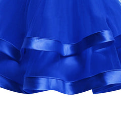 Girls Dress Sleeveless Royal Blue Ball Gown Wedding Party Size 6-12 Years