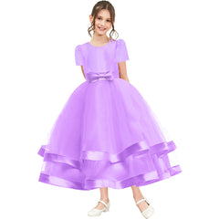 Girls Dress Short Sleeve Purple Ball Gown Wedding Party Pageant Size 6-12 Years
