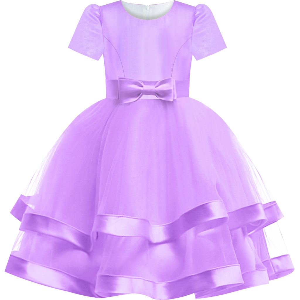 Girls Dress Purple Bridesmaid Ball Gown Wedding Party Pageant Size 6-12 Years