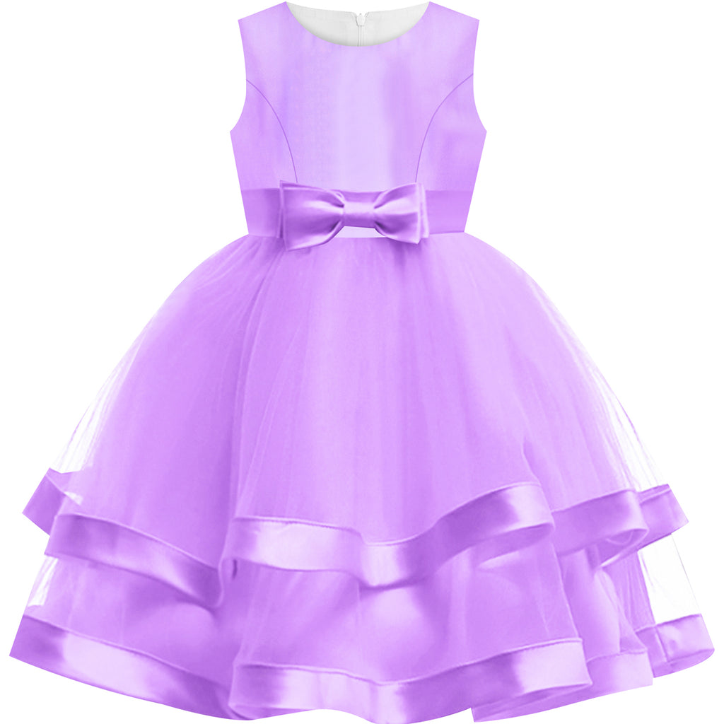 Girls Dress Sleeveless Purple Ball Gown Wedding Party Pageant Size 6-12 Years