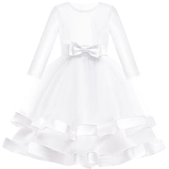 Girls Dress Long Sleeve White Ball Gown Wedding Party Pageant Size 6-12 Years