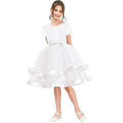 Girls Dress Short Sleeve White Ball Gown Wedding Party Pageant Size 6-12 Years