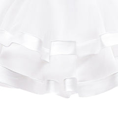 Girls Dress Sleeveless White Ball Gown Wedding Party Pageant Size 6-12 Years