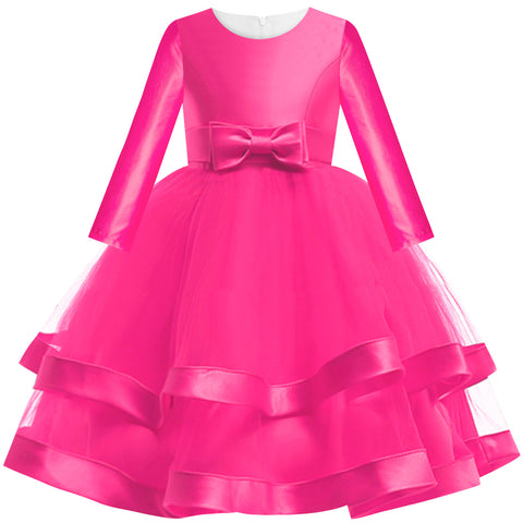 Girls Dress Rose Pink Ball Gown Wedding Party Pageant Size 6-12 Years