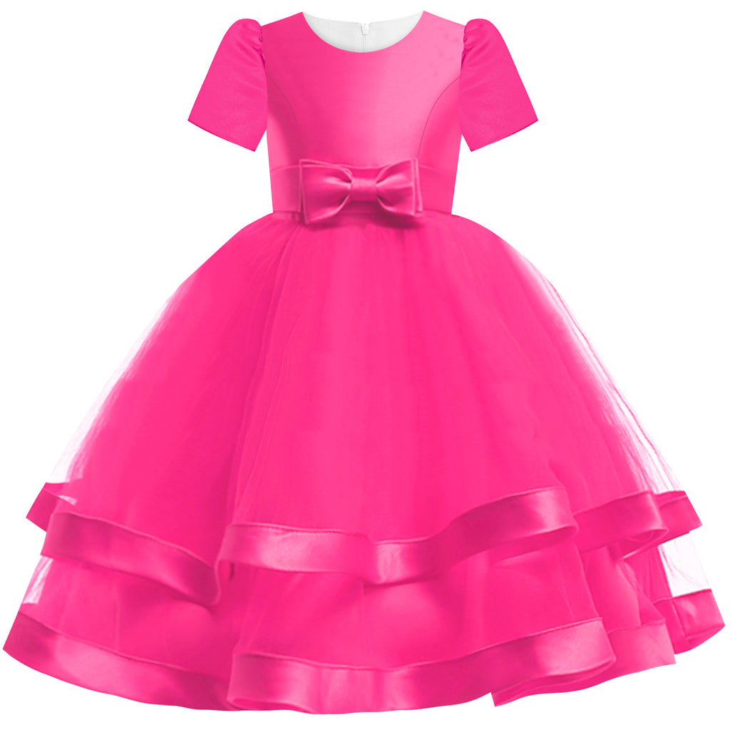 Girls Dress Short Sleeve Deep Pink Ball Gown Wedding Party Size 6-12 Years