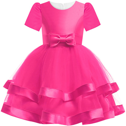 Girls Dress Short Sleeve Deep Pink Wedding Party Pageant Size 6-12 Years