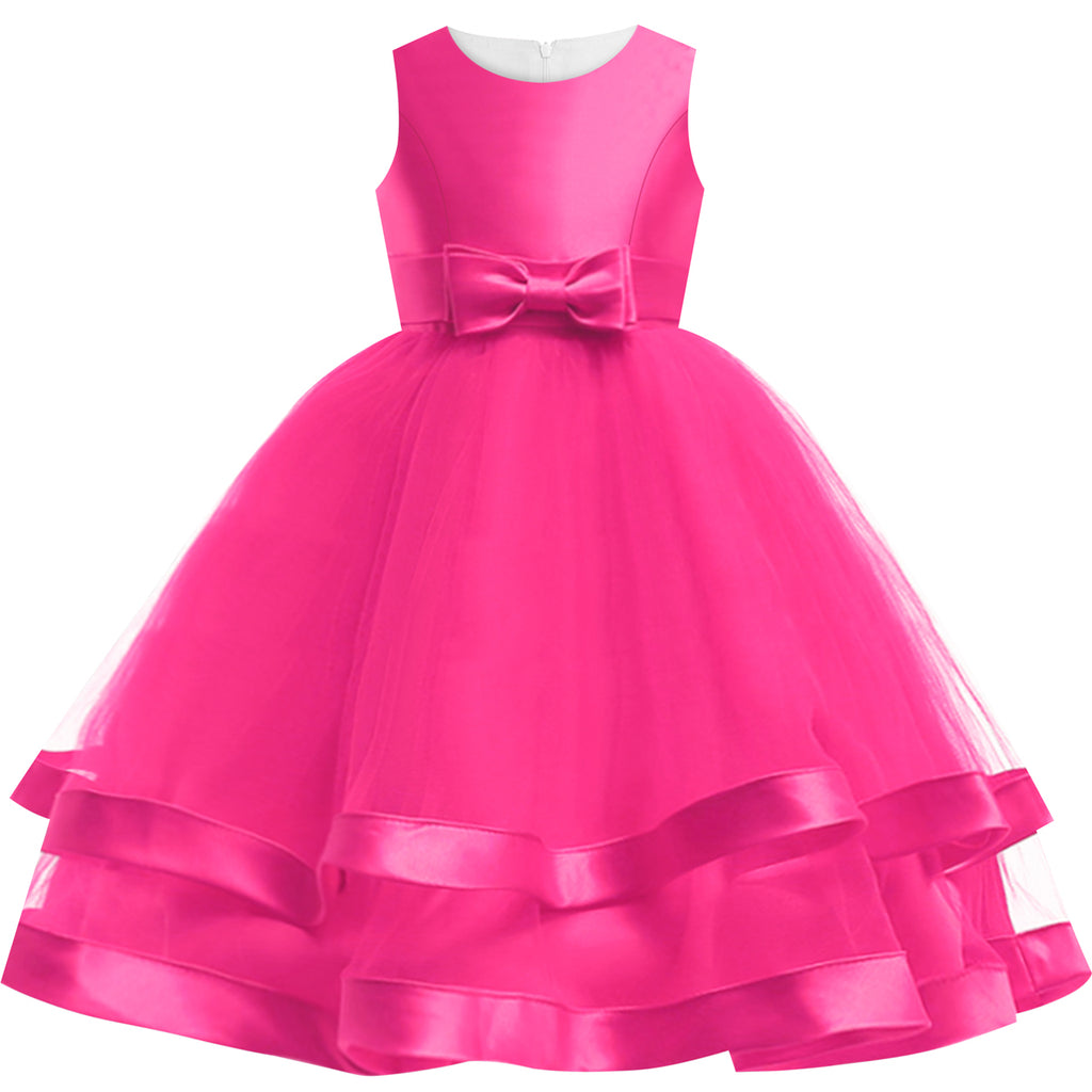 Girls Dress Sleeveless Rose Pink Wedding Party Pageant Size 6-12 Years