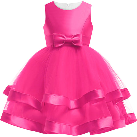 Girls Dress Sleeveless Deep Pink Ball Gown Wedding Party Size 6-12 Years