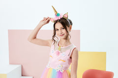 Girls Dress Unicorn Rainbow Tulle Unicorn Headband Party Size 4-10 Years