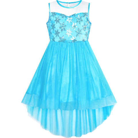 Girls Dress Ice Snow Queen Princess Dress Up Birthday Party Size 7-14 Years