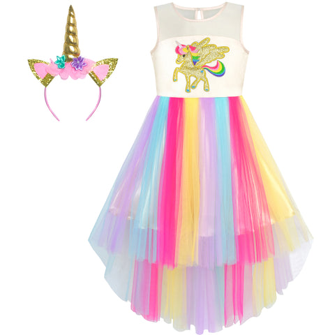 Girls Dress Unicorn Rainbow Tulle Costume Headband Party Size 7-10 Years