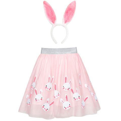 Girls Dress Easter Egg Hunter Bunny Skirt Rabbit Bunny Headband Size 2-10 Years