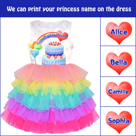 Custom Made Girls Dress With Your Name Birthday Gift Size 3-10 Years