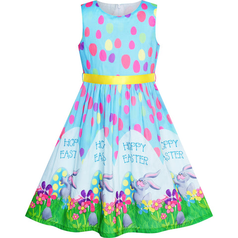 Girls Dress Easter Bunny Egg Hunt Blue Casual Party Size 2-10 Years