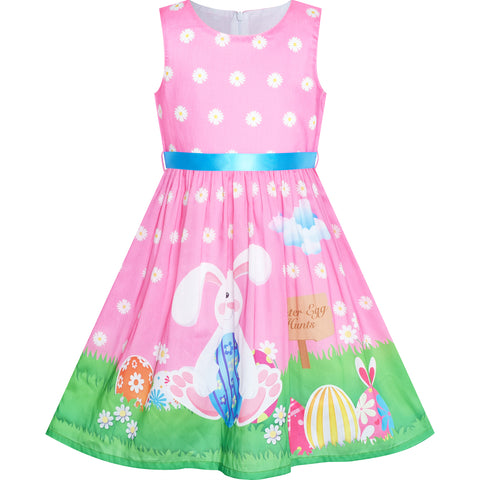 Girls Dress Easter Bunny Egg Hunt Pink Casual Party Size 4-12 Years