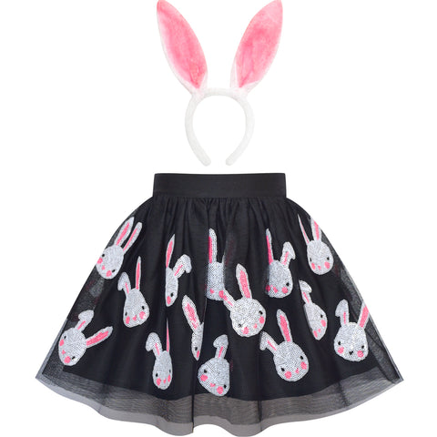 Girls Dress Black Bunny Skirt Rabbit Bunny Headband Size 2-10 Years