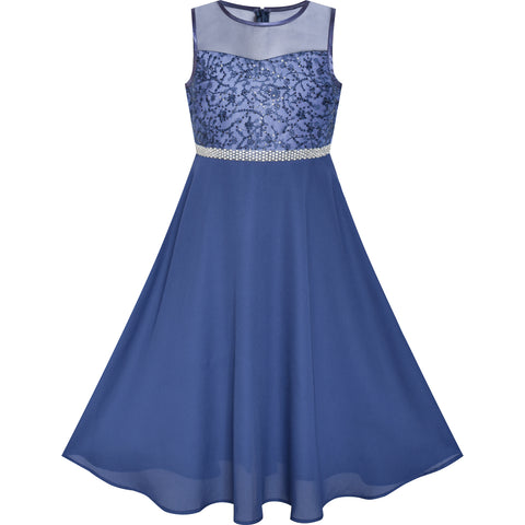 Girls Dress Classic Blue Chiffon Bridesmaid Maxi Ball Gown Size 6-14 Years