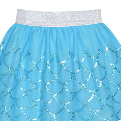 Girls Skirt Mermaid Blue Sequins Party Size 2-10 Years