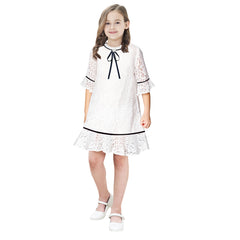 Girls Dress Lace Wave Hem Off White Elegant 3/4 Sleeve Size 5-10 Years