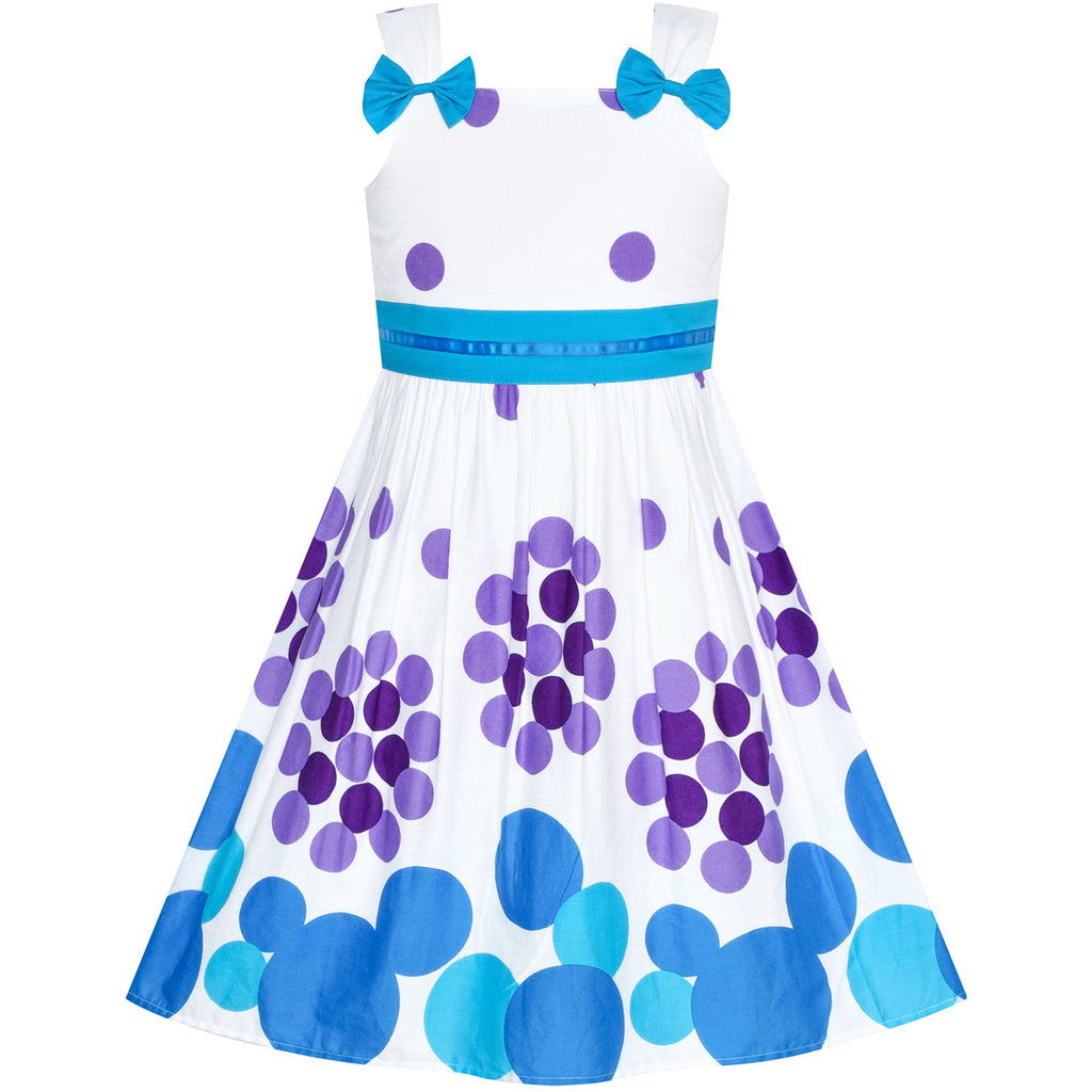 Girls Dress Blue Cotton Casual Bow Tie Flower Sundress Size 4-10 Years