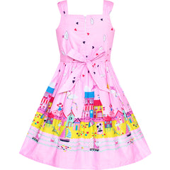 Girls Dress Cotton Casual Bow Tie Castle Sundress Size 2-8 Years