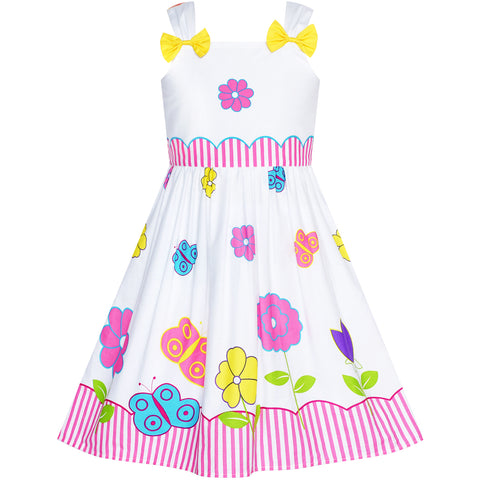 Girls Dress Cotton Casual Bow Tie Butterfly Sundress Size 2-8 Years