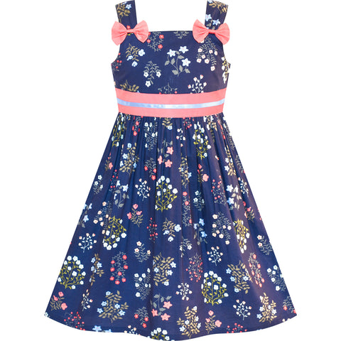 Girls Dress Cotton Casual Bow Tie Floral Sundress Size 2-8 Years