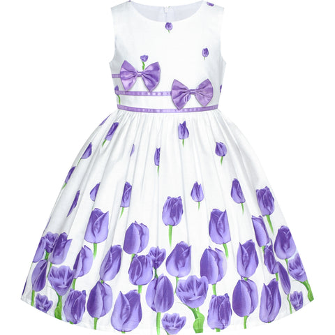 Girls Dress Purple Tulip Festival Dress Casual Floral Size 4-12 Years