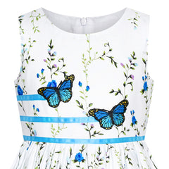 Girls Dress Blue Butterfly Casual Floral Party Size 4-12 Years