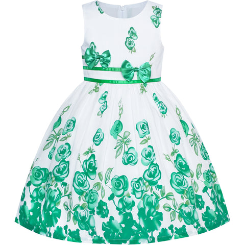 Girls Dress Green Casual Rose Flower Double Bow Tie Size 4-12 Years