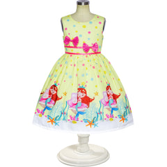 Girls Dress Yellow Casual Mermaid Double Bow Tie Party Size 4-10 Years