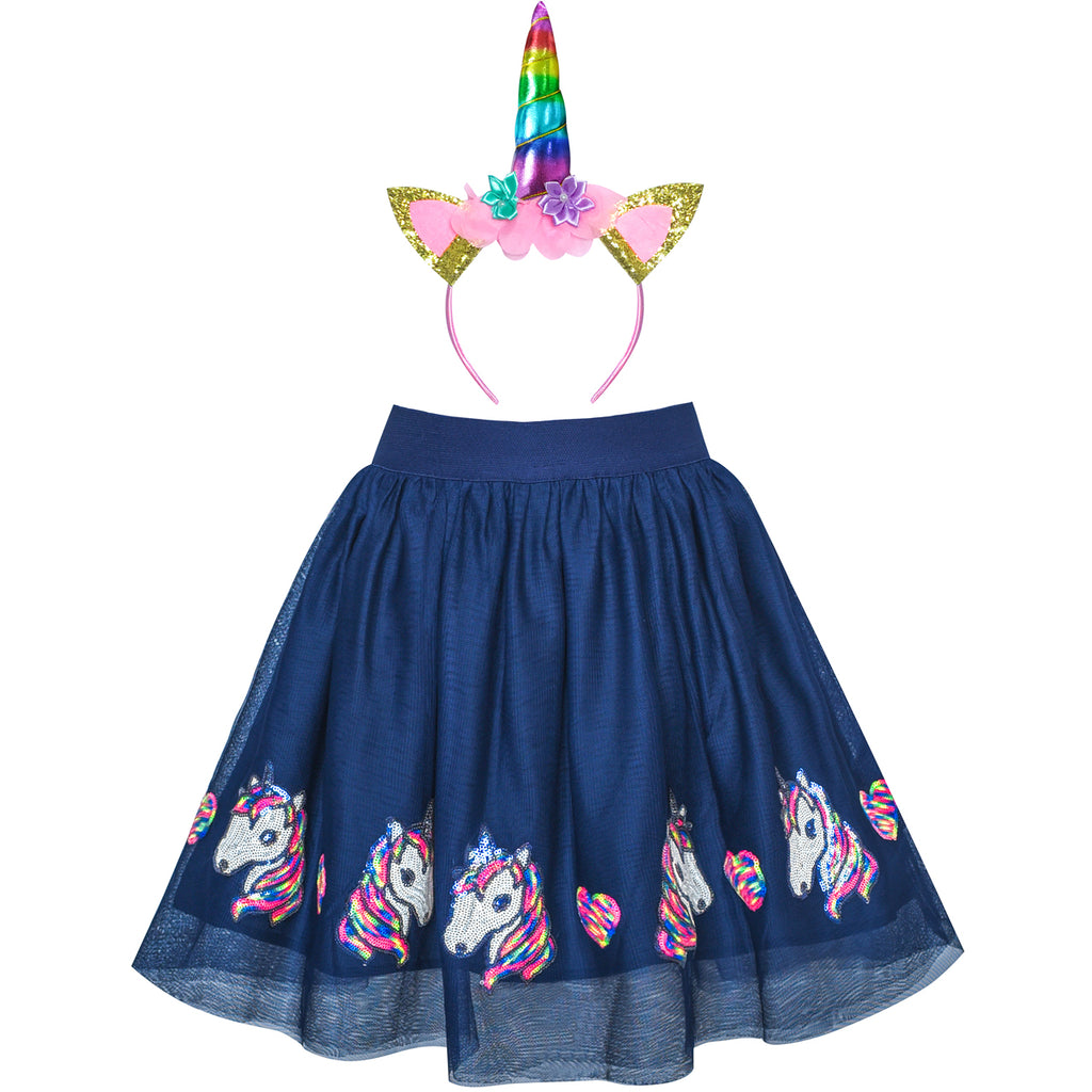 Girls Skirt Unicorn Headband Sequins Sparkling Tutu Dancing Size 2-10 Years