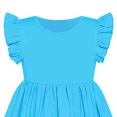 Girls Dress Blue Casual Cotton Flying Sleeve Balloon Size 3-7 Years