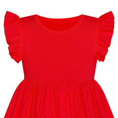 Girls Dress Red Casual Cotton Flying Sleeve Balloon Size 3-7 Years