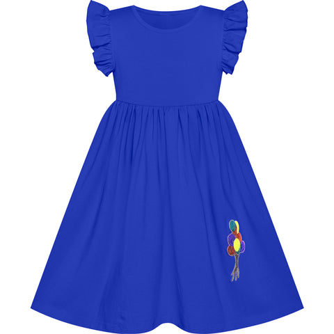 Girls Dress Classic Blue Casual Cotton Flying Sleeve Balloon Size 3-7 Years