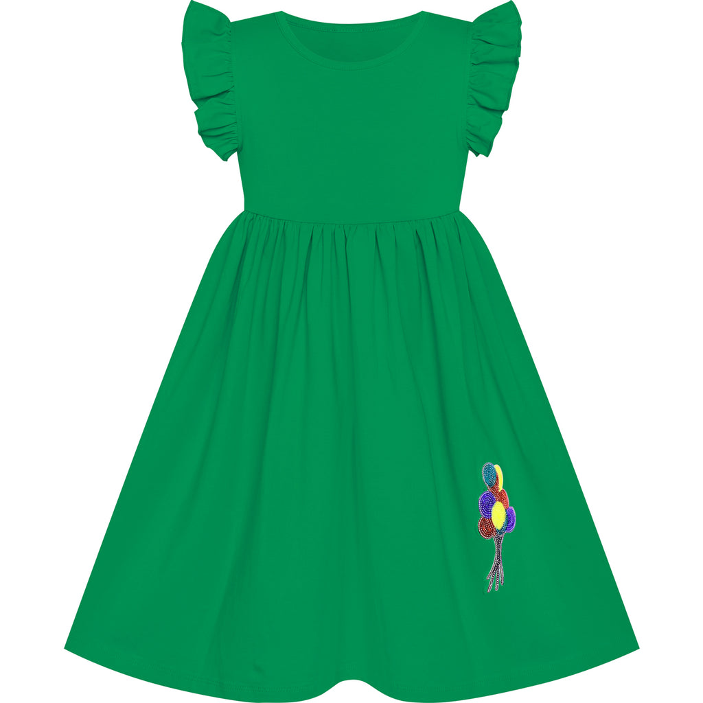 Girls Dress Green Casual Cotton Flying Sleeve Balloon Size 3-7 Years