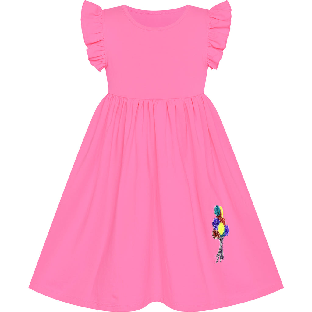Girls Dress Watermelon Casual Cotton Flying Sleeve Balloon Size 3-7 Years