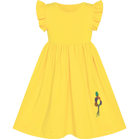 Girls Dress Yellow Casual Cotton Flying Sleeve Balloon Size 3-7 Years