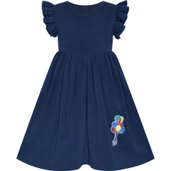 Girls Dress Navy Blue Casual Cotton Flying Sleeve Balloon Size 3-7 Years