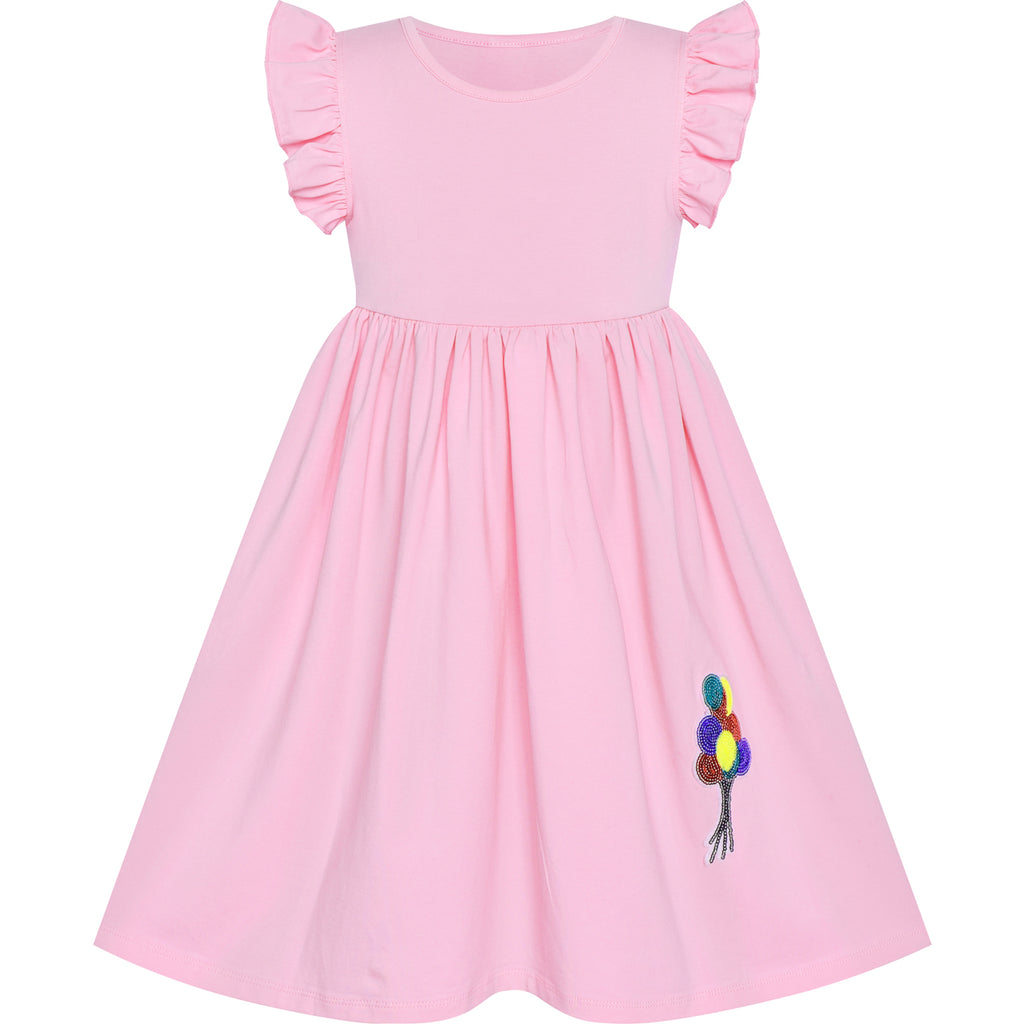 Girls Dress Deep Pink Casual Cotton Flying Sleeve Balloon Size 3-7 Years