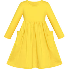 Girls Dress Yellow Casual Cotton Long Sleeve Dress Size 3-8 Years