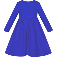 Girls Dress Classic Blue Casual Cotton Long Sleeve Dress Size 3-8 Years