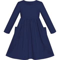 Girls Dress Navy Blue Casual Cotton Long Sleeve Dress Size 3-8 Years
