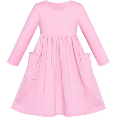 Girls Dress Pink Casual Cotton Long Sleeve Dress Size 3-8 Years