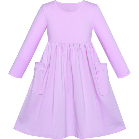 Girls Dress Purple Casual Cotton Long Sleeve Dress Size 3-8 Years