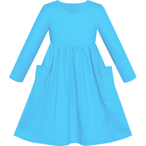 Girls Dress Blue Casual Cotton Long Sleeve Dress Size 3-8 Years