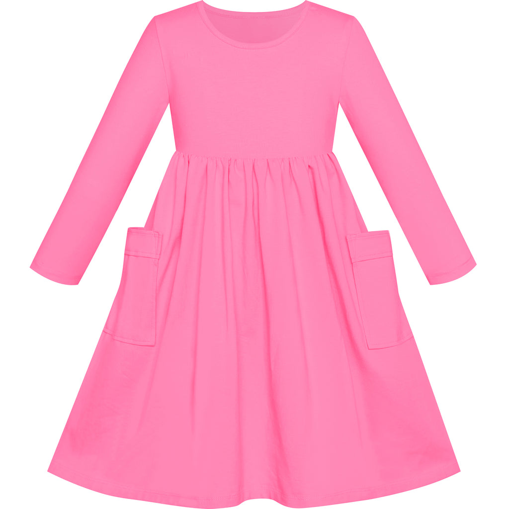 Girls Dress Watermelon Casual Cotton Long Sleeve Dress Size 3-8 Years
