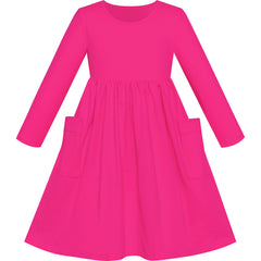 Girls Dress Deep Pink Casual Cotton Long Sleeve Dress Size 3-8 Years