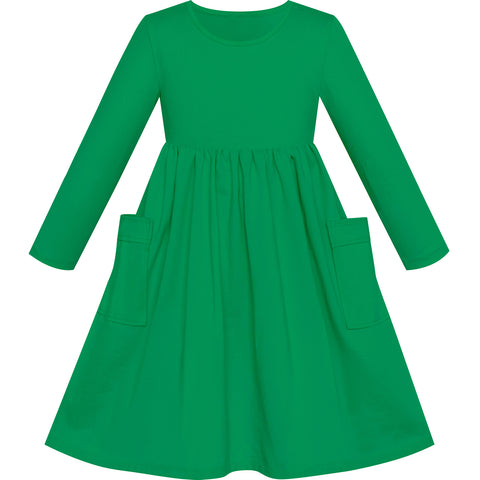 Girls Dress Green Casual Cotton Long Sleeve Dress Size 3-8 Years